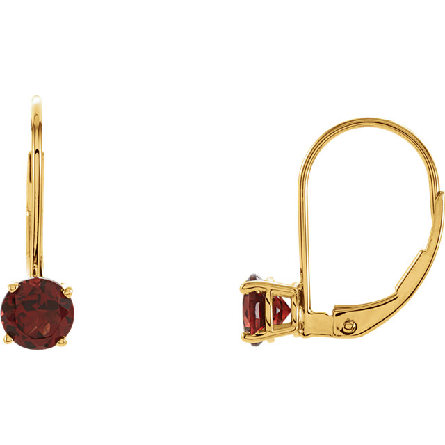 Red Garnet Round 4-Prong Lever Back Earrings