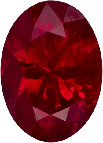 Red Ruby Natural Burmese Gemstone in Oval Cut, 6.9 x 5 mm, 0.89 Carats