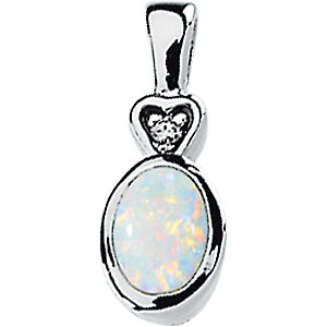 Regal .67ct 7x5mm Oval Shape Bezel Set Opal Cabochon & Diamond Pendant set in 14 karat White Gold - Free Chain