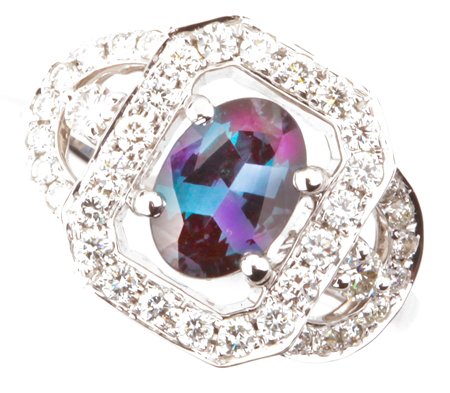 Regal Brazilian Impressive 1.20ct, 8.50 x 6.60 mm Alexandrite and Diamond Fancy Ring in 14k White Gold for SALE
