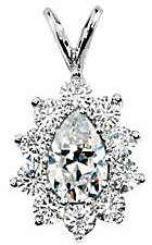 Regal Created Moissanite Gemstone Pendant With 1.5ct 8x5mm Pear Shape Moissanite Center Surrounded By Round Moissanite Gems - FREE Chain Included With Pendant - SOLD