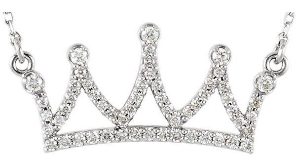 Regal Crown Shaped Diamond Encrusted Necklace in 14k Gold for SALE - Choose Metal Type - 1/5ct .8-1mm sized Stones