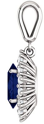 Regal Halo Pendant With 1.75ct 8.00 x 6.00 mm Oval Cut ChathamCreated Blue Sapphire Center - 14k White Gold