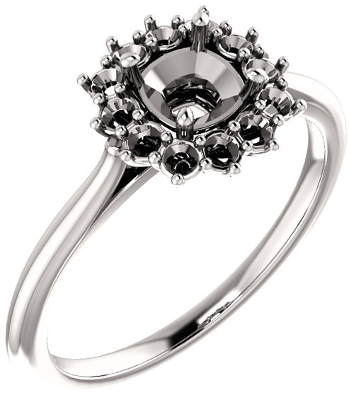 Regal Halo Style Engagment Ring for Cushion Shape Centergem Sized 5.00 mm to 15.00 mm - Customize Metal, Accents or Gem Type