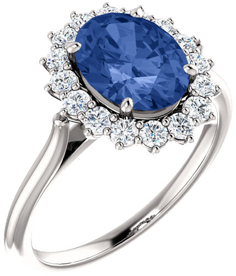 Regal Halo Style Engagment Ring for Oval Gemstone Size 7 x 5mm to 16 x 12mm