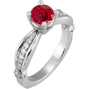 Regal Red Real GEM Grade 1 carat 6mm Ruby Solitaire Sculpted Engagement Ring - Dazzling Diamond Accents