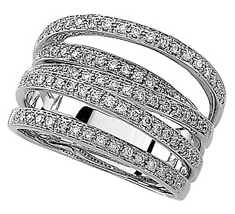 Remarkable 0.50 Carat Total Weight Overlapping Openwork 1.00 mm Diamond Band set in 14 karat White Gold