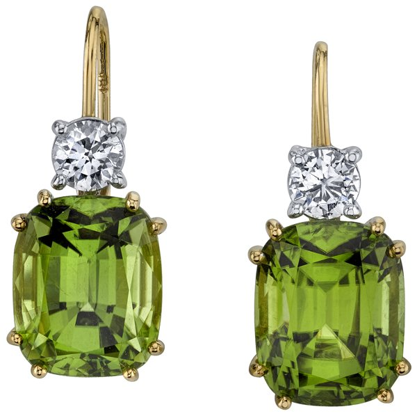 Remarkable 12x9mm Cushion Peridot Earrings in 18kt Yellow Gold With Diamond Accents - Handcrafted