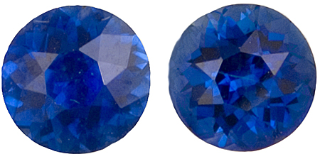 Remarkable Pair of Stunning Blue Sapphire Gemstones for SALE, Round Cut, 2.01 carats