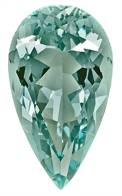 Remarkable Unheated Bluish Greenish Aquamarine Genuine Gem, Pear Shape,  8.47 carats,