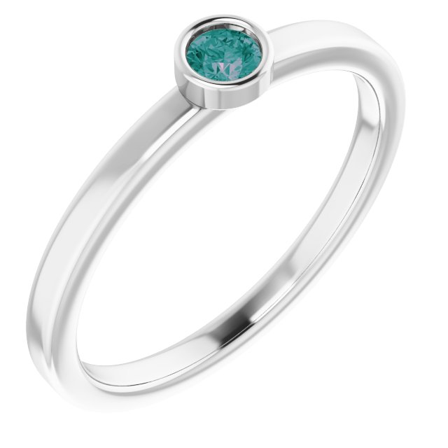 Genuine Alexandrite Ring in Rhodium-Plated Sterling Silver 3 mm Round Alexandrite Ring