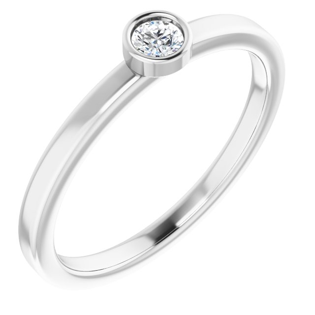 Genuine Diamond Ring in Rhodium-Plated Sterling Silver 3 mm Round Diamond Ring