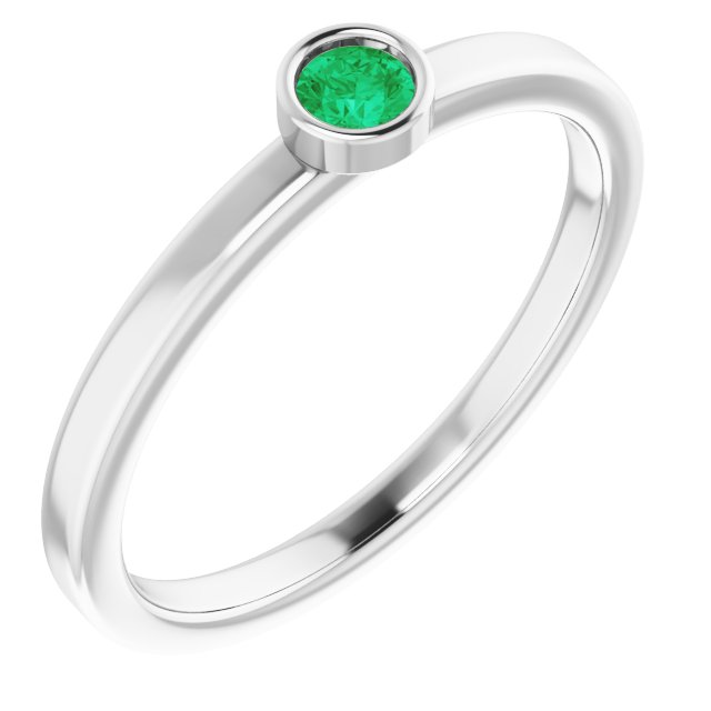 Emerald Ring in Rhodium-Plated Sterling Silver 3 mm Round Emerald Ring