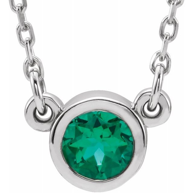 Natural Emerald Pendant in Rhodium-Plated Sterling Silver 3 mm Round Emerald Solitaire 16