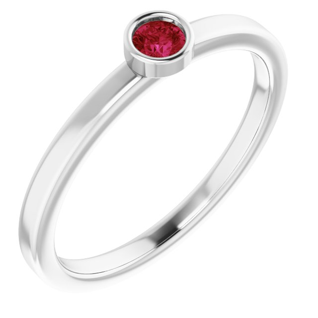 Genuine Ruby Ring in Rhodium-Plated Sterling Silver 3 mm Round Ruby Ring