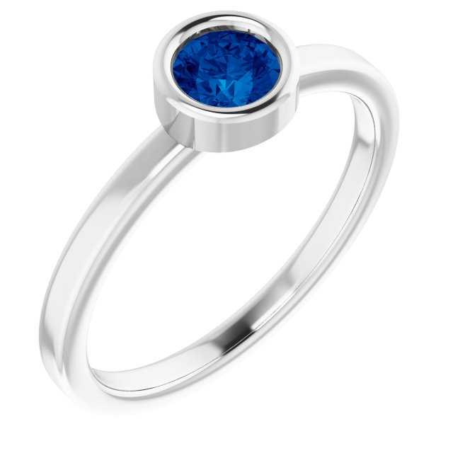 Genuine Sapphire Ring in Rhodium-Plated Sterling Silver 4.5 mm Round Genuine Sapphire Ring