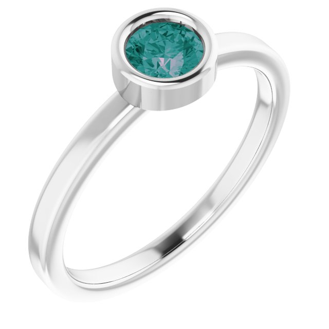 Chatham Created Alexandrite Ring in Rhodium-Plated Sterling Silver 4.5 mm Round Chatham Lab-Created Alexandrite Ring