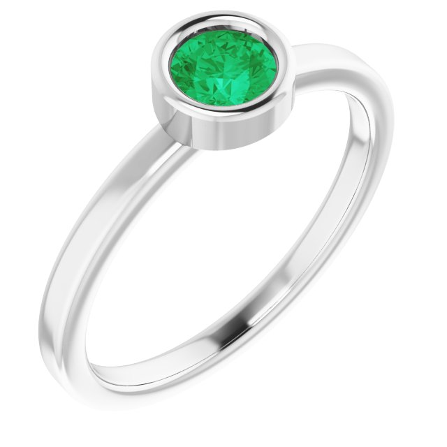 Chatham Created Emerald Ring in Rhodium-Plated Sterling Silver 4.5 mm Round Chatham Lab-Created Emerald Ring