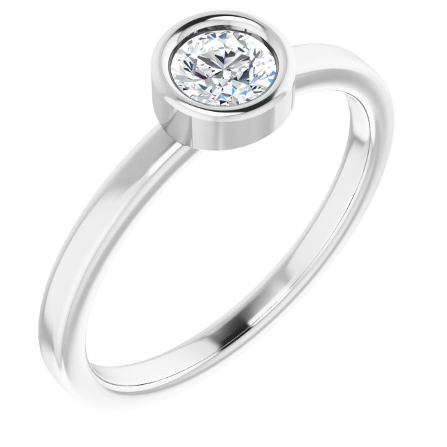Genuine Diamond Ring in Rhodium-Plated Sterling Silver 4.5 mm Round Diamond Ring