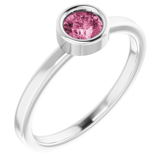 Pink Tourmaline Ring in Rhodium-Plated Sterling Silver 4.5 mm Round Pink Tourmaline Ring