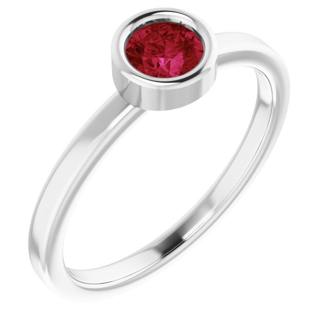 Genuine Ruby Ring in Rhodium-Plated Sterling Silver 4.5 mm Round Ruby Ring