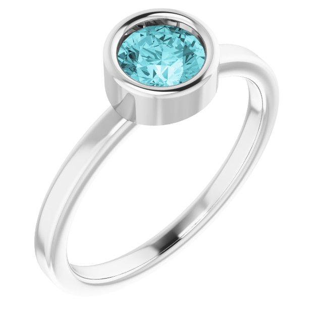 Genuine Zircon Ring in Rhodium-Plated Sterling Silver 5.5 mm Round Genuine Zircon Ring