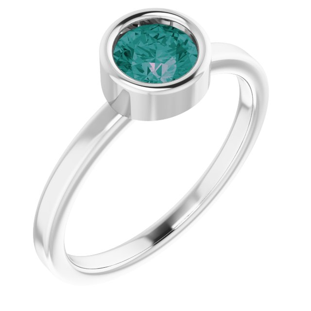 Chatham Created Alexandrite Ring in Rhodium-Plated Sterling Silver 5.5 mm Round Chatham Lab-Created Alexandrite Ring