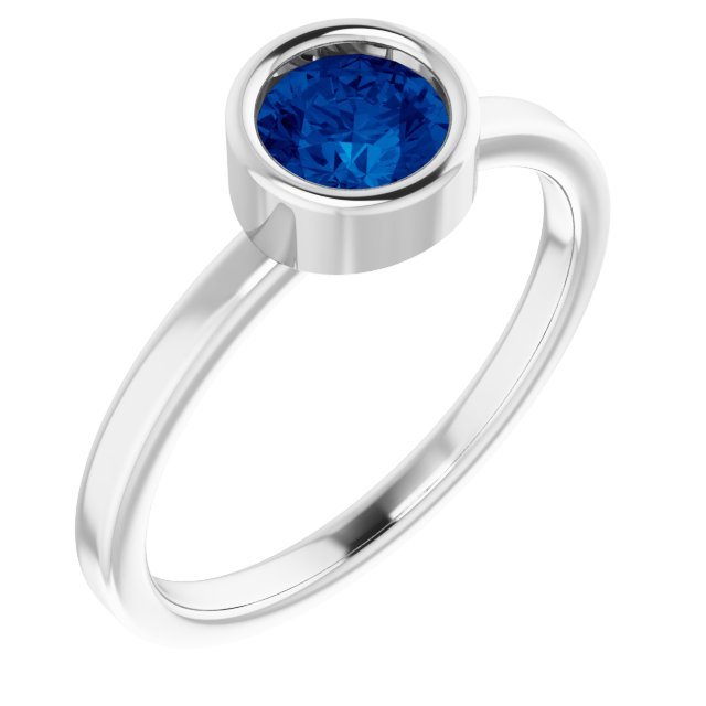 Chatham Created Sapphire Ring in Rhodium-Plated Sterling Silver 5.5 mm Round Chatham Lab-Created Genuine Sapphire Ring