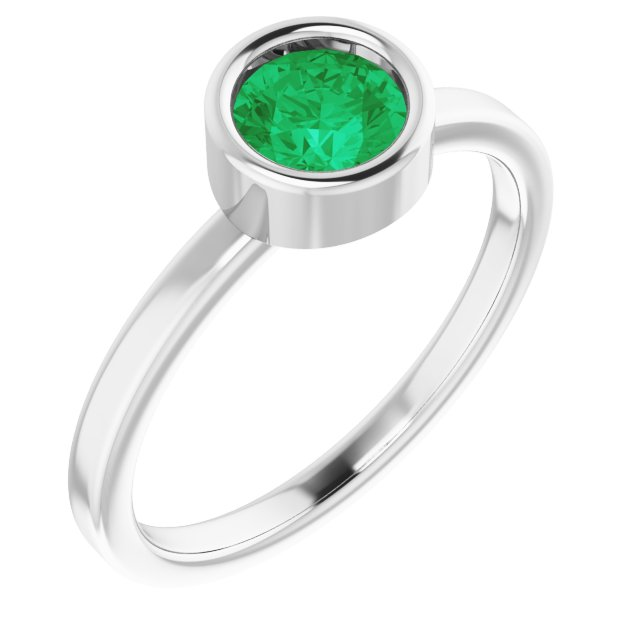 Chatham Created Emerald Ring in Rhodium-Plated Sterling Silver 5.5 mm Round Chatham Lab-Created Emerald Ring