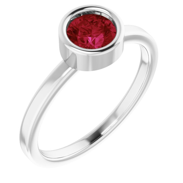 Chatham Created Ruby Ring in Rhodium-Plated Sterling Silver 5.5 mm Round Chatham Lab-Created Ruby Ring