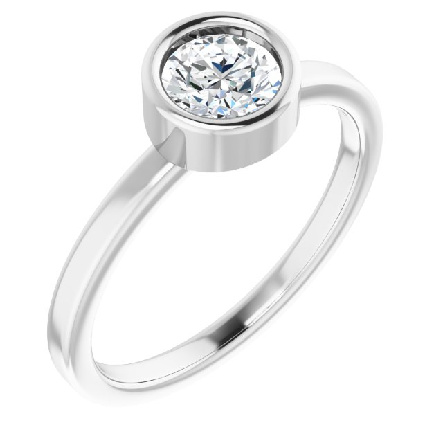 Real Diamond Ring in Rhodium-Plated Sterling Silver 5.5 mm Round Diamond Ring