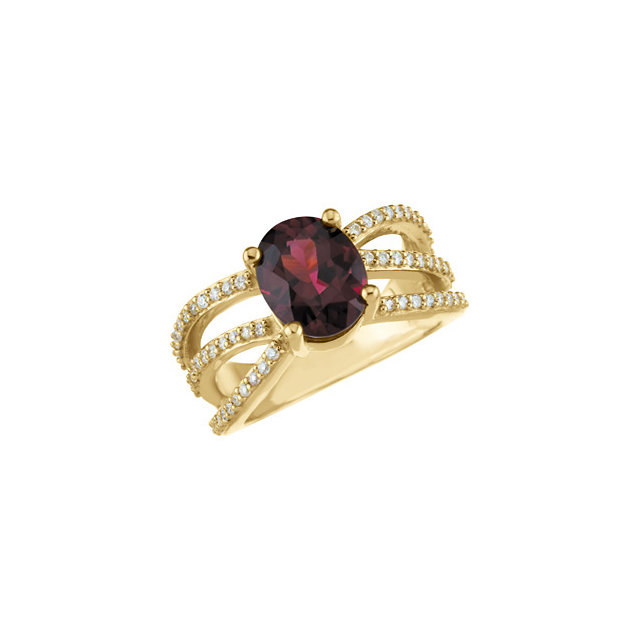 Very Nice Rhodolite Garnet & Diamond Accented Ring