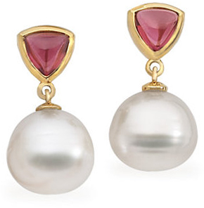 Rhodolite Garnet & South Sea Cultured Pearl Earrings or Semi-mount