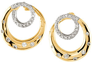 Rich 0.40 carat total weight Rhodium Plated Diamond Earrings expertly set in 14 karat Yellow Gold for SALE - SOLD