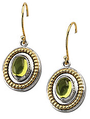 Rich 1.8ct 7x5mm Peridot Cabochon Earrings set in Sterling Silver & 14 karat Yellow Gold - Gold Detailing