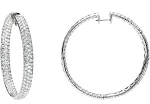 Rich 12.25 carat total weight Diamond Inside/Outside Hoop Earrings expertly set in 18 karat White Gold for SALE - 1.9 -2.0mm