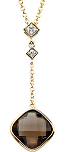 Rich 3.43ct 9mm Checkerboard Smoky Quartz & Diamond Drop Necklace set in 14 karat Yellow Gold for SALE - SOLD