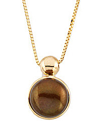 Rich 7.5mm Freshwater Dyed Chocolate Cultured Pearl Necklace in 14 karat Yellow Gold - FREE Gold Chain