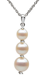 Rich 9mm Freshwater Cultured Pearl & Diamond Pendant in 14 karat White Gold with FREE Gold Chain