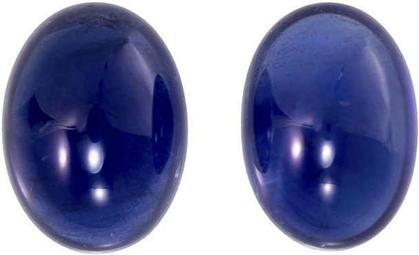 Rich Blue Cabochon Sapphires in Well Matched Pair in 6.75 x 5.0 mm 2.21 carats
