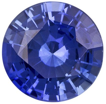 Rich Blue Ceylon Sapphire Loose GEm in 6.5 mm, Round Cut, 1.10 carats