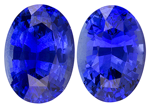 Rich Blue Color Sapphires in Well Matched Pair Oval Cut 7 x 5 mm, 1.97 carats