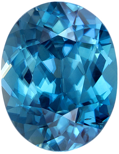 Rich Blue Colored Loose Zircon Oval Cut for Sale in 10.5 x 8.2 mm, 4.26 carats
