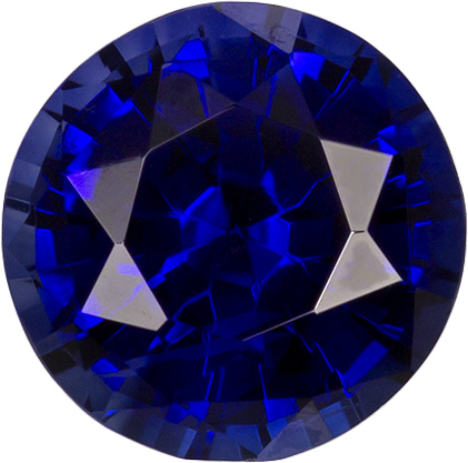Rich Blue Sapphire Genuine Ceylon Gem in Round Cut, 6.1 mm, 1.06 Carats