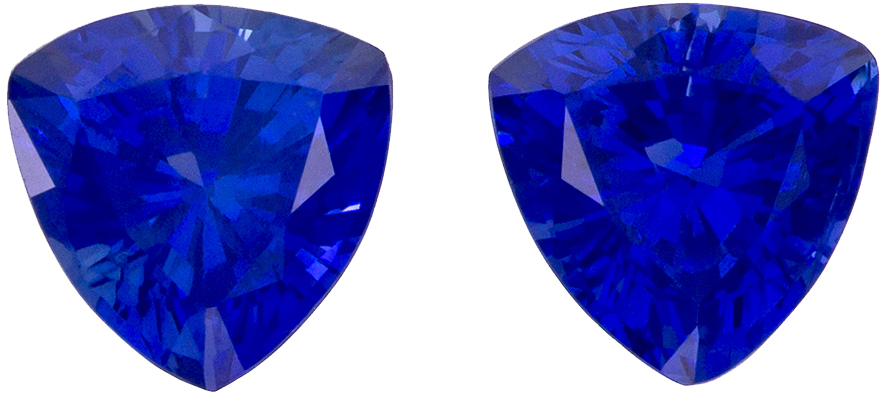 Rich Ceylon Blue Sapphire Matched Pair in Trillion Cut, 4.3 mm, 0.72 carats