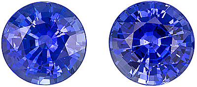 Rich Cornflower Blue Matched Pair of Blue Sapphires for SALE! Round cut, 2.47 carats