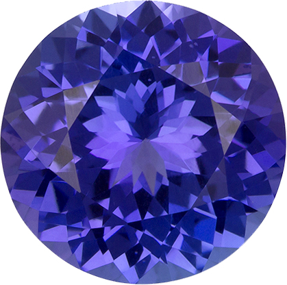 Rich Fiery Purple Blue Tanzanite Genuine Gem in Round Cut, 8.6 mm, 2.47 Carats