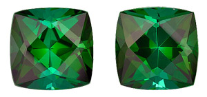 Rich Green Tourmaline Matched Genuine Gems with Excellent Clarity and Life, Cushion Cut, 7.16 carats