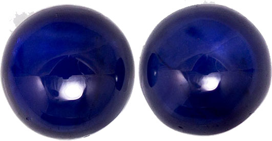 Rich Looking Blue Sapphire Well Matched Pair in Cabochon Cut, Medium Royal Blue, 6.1 mm, 2.94 carats - SOLD