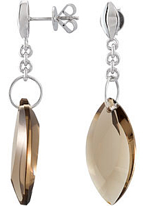 Rich Marquise Shaped Smoky Quartz Earrings expertly set in Sterling Silver for SALE - SOLD